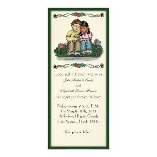 "Forever Love Invitation, Brunette/Indian Couple 4"" X 9.25"" Invitation Card"