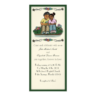 """Forever Love Invitation, Indian/African Couple 4"""" X 9.25"""" Invitation Card"""