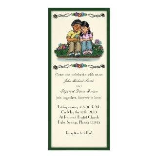 "Forever Love Invitation, Indian/Hispanic Couple 4"" X 9.25"" Invitation Card"