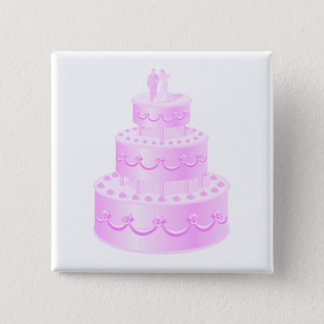Forever Love Pink Wedding Cake Button