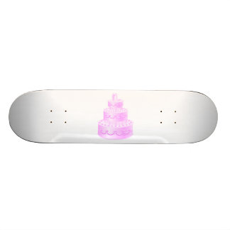 Forever Love Pink Wedding Cake Skateboard Deck