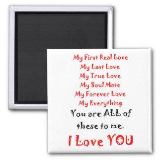 Forever Love Poem 2 Inch Square Magnet