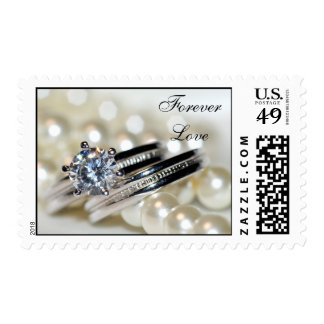 Forever Love Rings and White Pearls Wedding Stamp