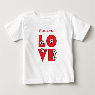 Forever Love Soccer in Red Baby T-Shirt