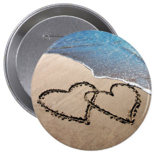 Forever Love Two Hearts In Sand Beach Button Pin