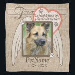 """Forever Loved Angel Wings Pet Sympathy Custom Bandana<br><div class=""""desc"""">My faithful friend left paw prints on my heart. Pet poem that goes for dogs, cats, or any pets with paws. Pay tribute to a loved pet with these personalized memorial gifts keepsakes or offer your condolences with personalized sympathy gifts from Healing Tears to honor a special pet in your...</div>"""