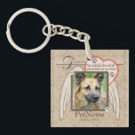 "Forever Loved Angel Wings Pet Sympathy Custom Keychain<br><div class=""desc"">My faithful friend left pawprints on my heart. Pet poem that goes for dogs, cats, or any pets with paws. Pay tribute to a loved pet with these personalized memorial gifts keepsakes or offer your condolences with personalized sympathy gifts from Healing Tears to honor a special pet in your life....</div>"