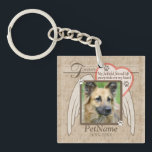 """Forever Loved Angel Wings Pet Sympathy Custom Keychain<br><div class=""""desc"""">My faithful friend left pawprints on my heart. Pet poem that goes for dogs, cats, or any pets with paws. Pay tribute to a loved pet with these personalized memorial gifts keepsakes or offer your condolences with personalized sympathy gifts from Healing Tears to honor a special pet in your life....</div>"""