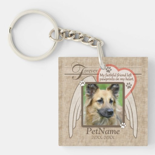 Forever Loved Angel Wings Pet Sympathy Custom Square Acrylic Keychains