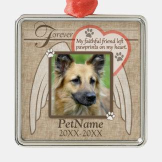 Forever Loved Angel Wings Pet Sympathy Custom Metal Ornament