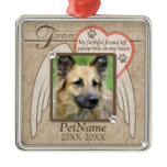 Forever Loved Angel Wings Pet Sympathy Custom Square Metal Christmas Ornament