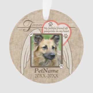 Forever Loved Angel Wings Pet Sympathy Custom Ornament
