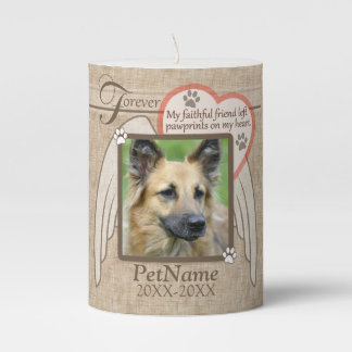 Forever Loved Angel Wings Pet Sympathy Custom Pillar Candle