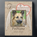 "Forever Loved Angel Wings Pet Sympathy Custom Plaque<br><div class=""desc"">My faithful friend left pawprints on my heart. Pet poem that goes for dogs, cats, or any pets with paws. Pay tribute to a loved pet with these personalized memorial gifts keepsakes or offer your condolences with personalized sympathy gifts from Healing Tears to honor a special pet in your life....</div>"