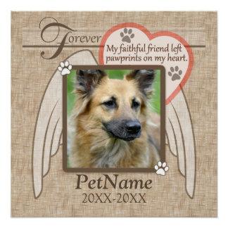 Forever Loved Angel Wings Pet Sympathy Custom Poster