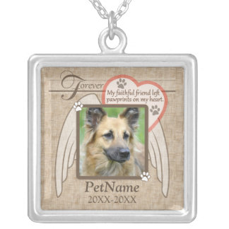 Forever Loved Angel Wings Pet Sympathy Custom Silver Plated Necklace
