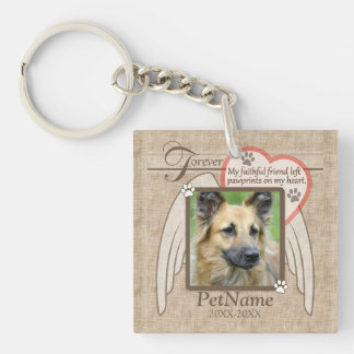 Forever Loved Angel Wings Pet Sympathy Custom Single-Sided Square Acrylic Keychain