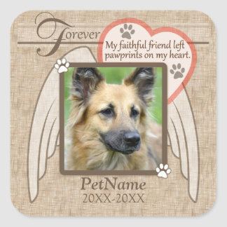 Forever Loved Angel Wings Pet Sympathy Custom Square Sticker