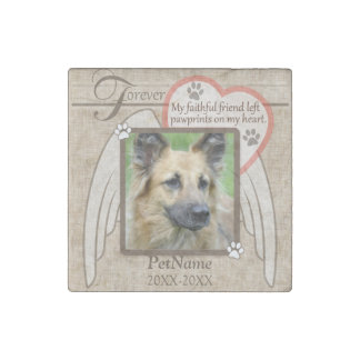 Forever Loved Angel Wings Pet Sympathy Custom Stone Magnet