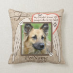 "Forever Loved Angel Wings Pet Sympathy Custom Throw Pillow<br><div class=""desc"">My faithful friend left pawprints on my heart. Pet poem that goes for dogs, cats, or any pets with paws. Pay tribute to a loved pet with these personalized memorial gifts keepsakes or offer your condolences with personalized sympathy gifts from Healing Tears to honor a special pet in your life....</div>"