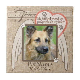Forever Loved Angel Wings Pet Sympathy Custom Tile