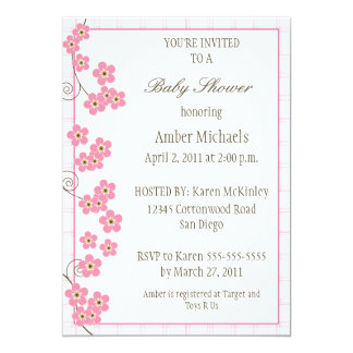 Forever Loved Baby Shower Invitation-pink 5x7 Paper Invitation Card