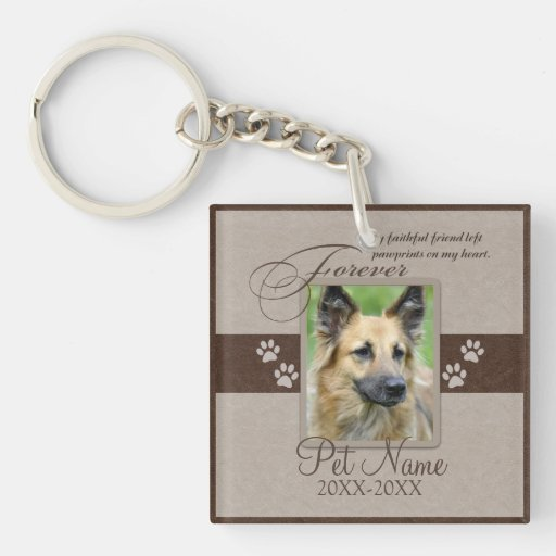 Forever Loved Pet Sympathy Single-Sided Square Acrylic Keychain