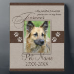 "Forever Loved Pet Sympathy Plaque<br><div class=""desc"">My faithful friend left pawprints on my heart. Pet poem that goes for dogs, cats, or any pets with paws. Pay tribute to a loved pet with these personalized memorial gifts keepsakes or offer your condolences with personalized sympathy gifts from Healing Tears to honor a special pet in your life....</div>"