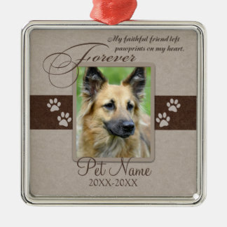 Forever Loved Pet Sympathy Square Metal Christmas Ornament