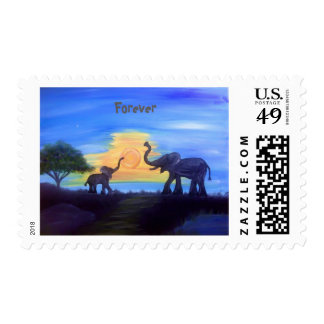 Forever- Mommy and Baby Elephant Postage