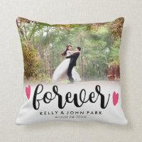 Forever Overlay Script Custom Names Wedding Photo Throw Pillow