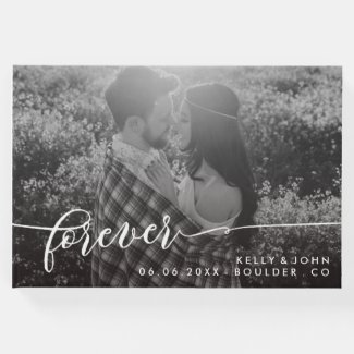 Forever Overlay White Script Photo Wedding Guest Book