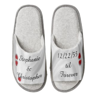 Forever Personalized Wedding Slippers with Hearts