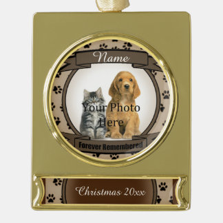 Forever Remembered Brown Tribute Memorial Gold Plated Banner Ornament