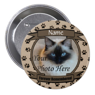 Forever Remembered Dog or Cat Memorial 3 Inch Round Button