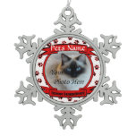 Forever Remembered Dog or Cat Memorial Snowflake Pewter Christmas Ornament