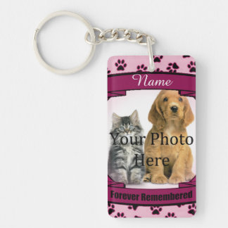 Forever Remembered - Pink Paw Prints Pet Loss Keychain