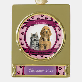 Forever Remembered Pink Tribute Memorial Gold Plated Banner Ornament