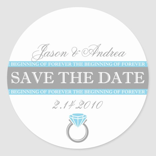 Forever Ring Save The Date Classic Round Sticker