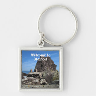 Forever Rock; Mexico Souvenir Silver-Colored Square Keychain