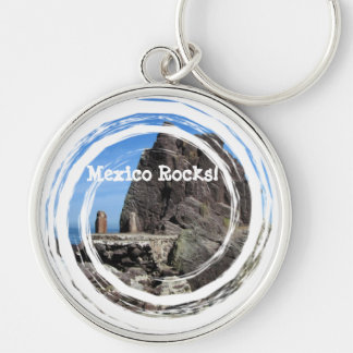 Forever Rock; Mexico Souvenir Silver-Colored Round Keychain
