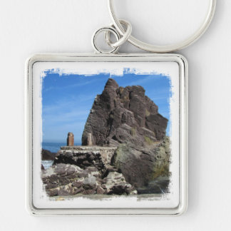 Forever Rock Silver-Colored Square Keychain