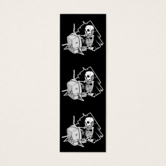forever skeleton on hold tech support bookmark mini business card