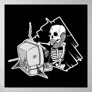 forever skeleton on hold tech support poster