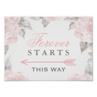 Forever Starts This Way Sign | Watercolor Roses Poster