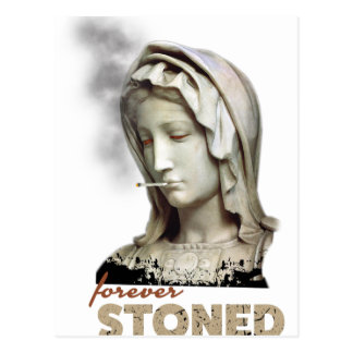 Forever Stoned Statue Smoking Postcard