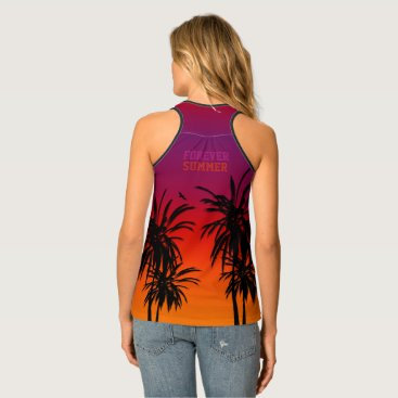 Beach Themed Forever Sunset Tahiti Purple Orange Fade Tropical Tank Top