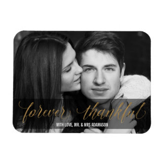 Forever Thankful | Gold Wedding Thank You Script Magnet