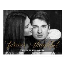 Forever Thankful   Gold Wedding Thank You Script Postcard