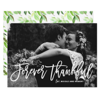 Forever Thankful Hand Lettered Wedding Thank You Card